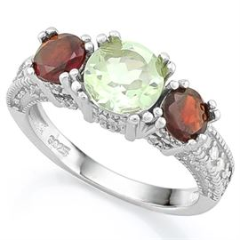 Green Amethyst and 2.5CT Garnet SS Ring sz 6