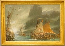 """Albert Goodwin, 1915 """"The Sea Raiders""""  oil on canvas"""