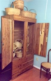 Baskets, cedar wardrobe