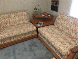 Vintage circa 1960 Ranch Oak  Sectional sofa and corner table by A Brandt Furniture of Fort Worth, TX