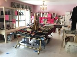 JEWELRY (IN 3 DISPLAY CASES, 2 BANQUET TABLES,  1 SMALL TABLE & 1/2 OF A BANQUET TABLE)