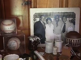 Vintage signed baseballs along with lots of objets d'art.  And yes, that's Gomer Pyle in the photo.