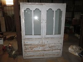 VERY COOL AND LARGE DISTRESSED VINTAGE CABINET.