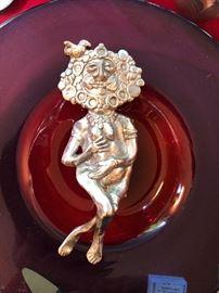 "Don Drumm 7"" figure sitting on large art glass bowl"