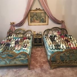 French brass beds, shoes size 7.5