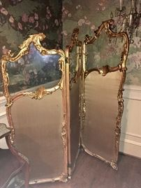 Giltwood & glass French screen