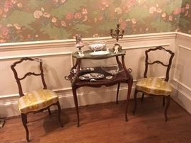 French tier table & pair of side chairs