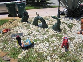 Three piece Loch Ness monster garden statue