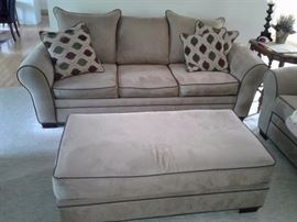 Koehler sofa,  love seat and ottoman. Neutral color fabric
