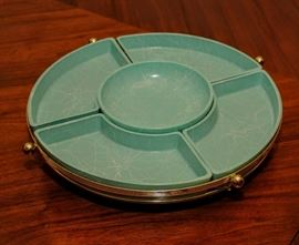 GREAT VINTAGE  TURQUOISE MILK GLASS WITH A SPACE AGE SWIRL PATTERN DECORATION  [HAZEL ATLAS ]  RETRO LAZY SUSAN c. 1950