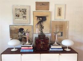 Laurel Lamps - Curated Collection OF Mid Century Art Work- 18th Century Japanese Tea Box