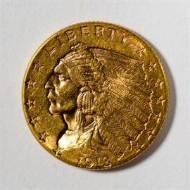 1913 $2.50 Gold Indian Quarter Eagle Coin
