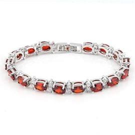 "Garnet and  Diamond Bracelet 18K White Gold Plated over German Silver / 7"" 15.5g tw -Tennis Style Bracelet- Garnet and Diamond"