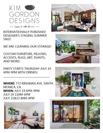 INTERNATIONALLY PUBLISHED DESIGNERS STAGING SUMMER SALE! NEVER BEFORE SEEN INVENTORY! FURNITURE PIECES FROM HOMES FEATURED IN ARCHITECTURAL DIGEST, FORBES, CALIFORNIA HOME AND DESIGN, LA TIMES, AND MORE!