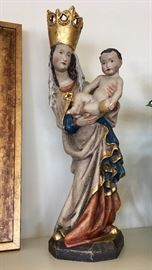 German Hand Carved Madonna and Child