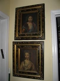 pair of antique oil paintings , in eastlake antique frames, marked on back, authorized paintings of metropolitan museum of art copies , old