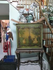 antique marionette cabinet, antique rocking horse with leather , pottery, great folk art Uncle Sam signed piece, antique stagecoach lock box