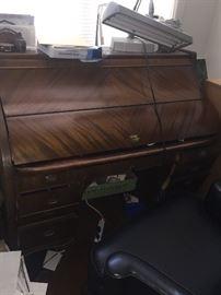 Great art nouveau mahogany fold top desk rare form
