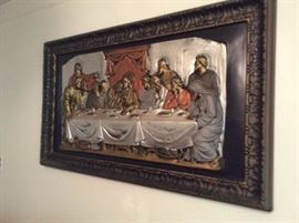 RARE 3D ANTIQUE LORD'S SUPPER IN METAL