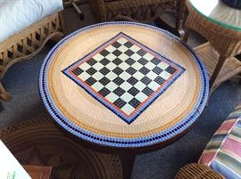MID CENTURY TILE CHESS TABLE