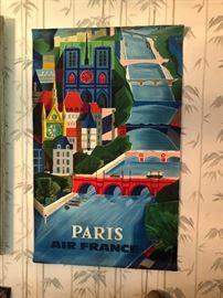 VINTAGE Air France PARIS TRAVEL POSTER