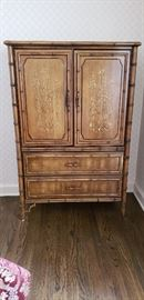 "3 hidden drawers behind the doors. Total 5 drawer tall boy chest 5' tall x 38"" wide x 19"" deep."