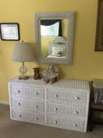 $60  White wicker dresser   wicker mirror $20