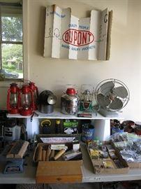 Plate Joiner,Sanders, Porter Cable Router, Vintage Miner's Helmet w/Auto Lamp Lite, Lanterns, Little Brown Jug, Vintage GE Fan