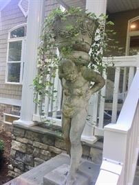 Pair of Atlas concrete  statues/planters (over 4 ft tall)