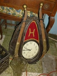 Neat old horse collar w/clock