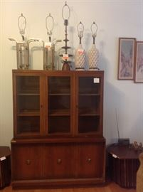 Display cabinet and lamps.