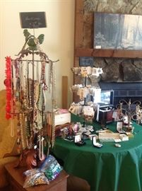 Lots of vintage costume jewelry.