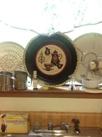 Vintage tray, sunbeam mixer, Bromolow sifters