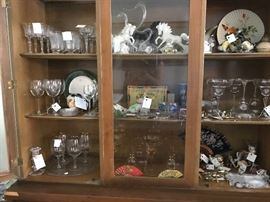 Etched glasses, blown glass, horses, elephants, acrylic glasses, interesting Knick knacks.