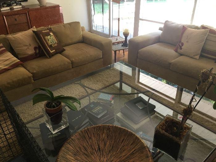 Gorgeous 6' x 6' glass top coffee table & sofas
