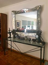 Mirror, French Gres pottery & huge iron & glass console table