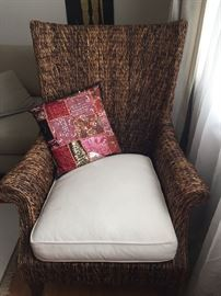 Woven Chair with African Pillow.