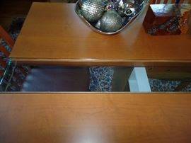 Teak Dining room set with 10 chairs - 10 ' long w/glass center  - glass insert goes for one end of the table to the other.
