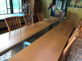 Teak Dining room set with 10 chairs - 10' long w/glass center strip  - glass insert goes for one end of the table to the other.
