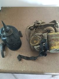 WW I hat and gas mask