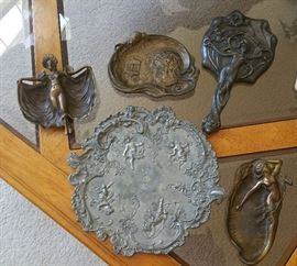 art nouveau trays, mirror