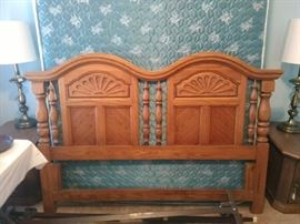 Full size headboard, mattress and box spring w/ frame.