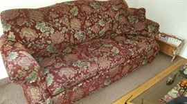 LaZboy Rust/Red Floral Sofa - very nice shape