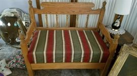 Vintage Bench with Striped Pattern . Mirrors and Side Table.