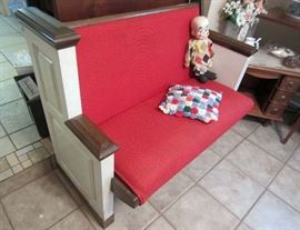 Church pew made into a neat bench.