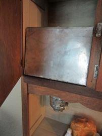Flour bin in Hoosier cabinet  (Hoosier cabinet pulled from sale by heir)