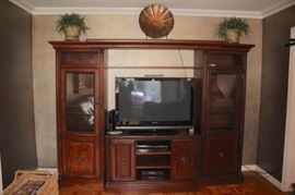 Wood Wall Unit can be separated, Flat Screen and Decorative Items