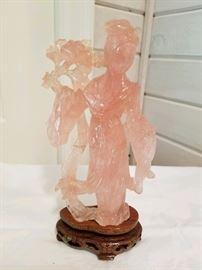 Rose quartz carved Geisha