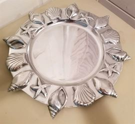 large pewter serving tray with seashells