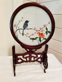 Fine Chinese Rosewood Scholars Screen Silk Embroidered